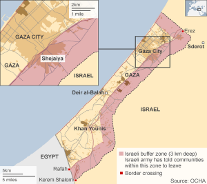 The Gaza buffer zone comprises over 40% of the Gaza Strip. (image via keldbach.net)