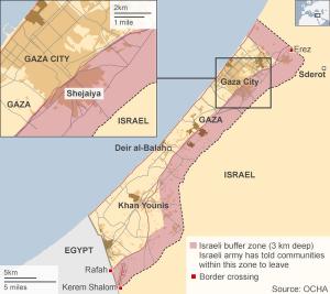 The Gaza buffer zone comprises over 40% of the Gaza Strip. (image via keldbach.net)